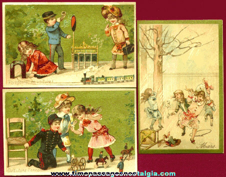 (3) Beautiful Old French Advertising Trade Cards With Children & Toys