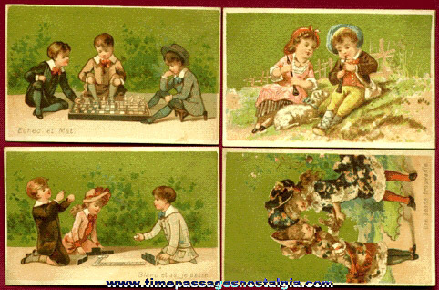 (4) Beautiful Old French Advertising Trade Cards With Children