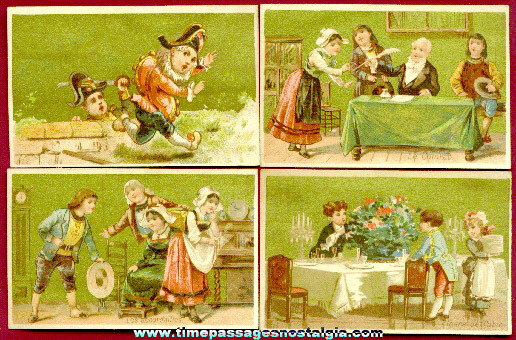 (4) Beautiful Old French Advertising Trade Cards With Children & Toys