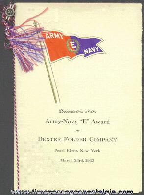 "1943 Army - Navy ""E"" War Production Award Folder And Pin To The DEXTER FOLDER COMPANY"