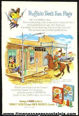 "1961 Nabisco Rice And Wheat Honeys Buffalo Bee's Advertising ""Fun Page"""