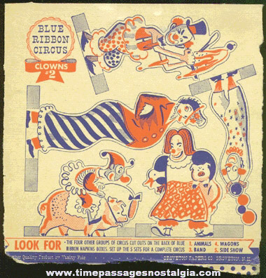 Old Uncut Panel Of Clown / Circus Cut Outs