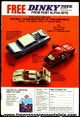 1969 Post Cereal DINKY Premium Cars Full Page Color Advertisement