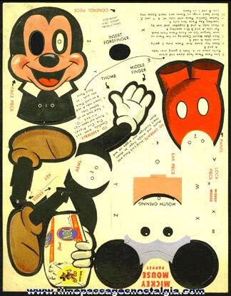 Old Unused Walt Disney Mickey Mouse NBC Bread Advertising Premium Mechanical Paper Puppet
