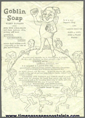 Old Goblin Soap Full Page Advertisement Sheet