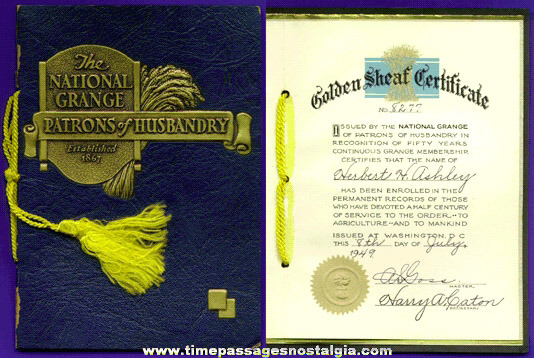1949 National Grange Golden Sheaf Certificate 50 Year Service Award Folder