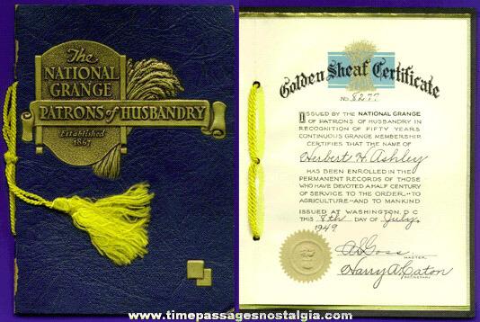 1949 National Grange Golden Sheaf Certificate 50 Year Service ...