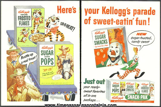 1950's Kellogg's Cereal Two Page Color Advertisement