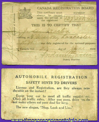 1918 Canadian Automobile Registration Papers & Wallet