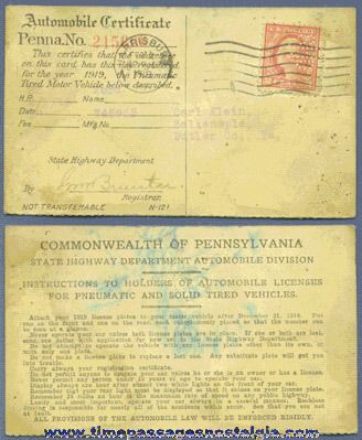 1919 Pennsylvania Automobile Registration Card