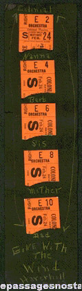 "(5) 1940 ""GONE WITH THE WIND"" Movie Ticket Stubs"