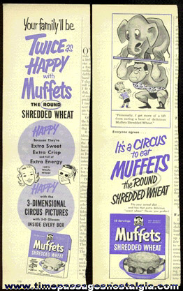 (2) Different Old Quaker Muffets Shredded Wheat Cereal Advertisements