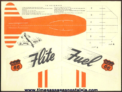 Old Unpunched Phillips 66 Gasoline Advertising Premium Paper Airplane
