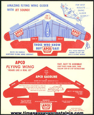 Old Unpunched APCO Gasoline Advertising Premium Paper Airplane Glider