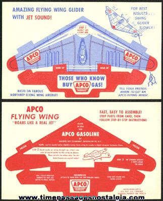 Old Unpunched APCO Gasoline Advertising Premium Paper Airplane Glider