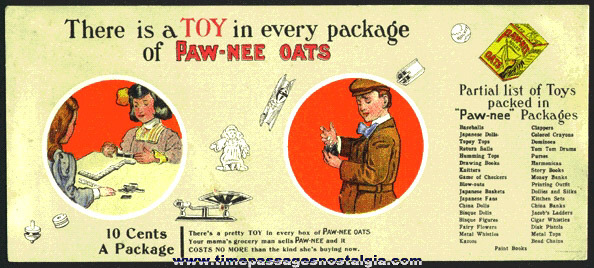 Rare Old Colorful PAW-NEE OATS CEREAL Advertising Premium Ink Pen Blotter For In Package Premiums