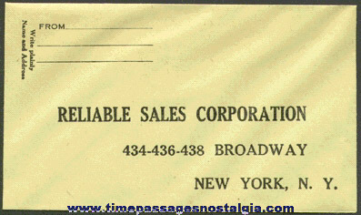 Early RELIABLE (candy) SALES CORPORATION Premium Catalog Booklet With An Unused Reply Envelope