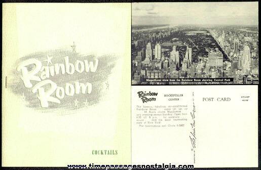 (3) Old Rockefeller Center, New York City RAINBOW ROOM Cocktail Lounge Items
