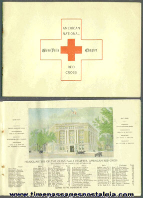 1918 American National Red Cross Glens Falls, New York Chapter Booklet