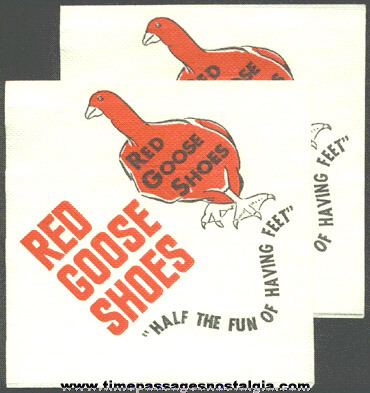 (2) Old Red Goose Shoes Advertising Paper Napkins