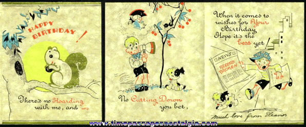 1930s Skippy Comic Strip Character Birthday Card