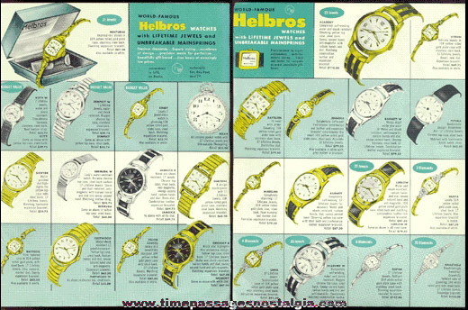 1957 - 1958 Helbros Wrist Watch Two Sided - Color Salesman's Advertising Sheet