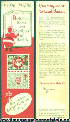 1957 Christmas Seals Stamps Advertising Book Mark