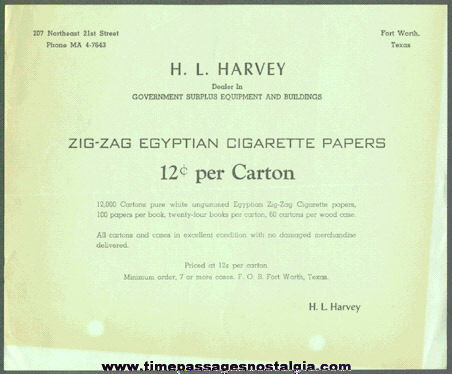 1940's Zig - Zag Egyptian Cigarette Papers Advertisement