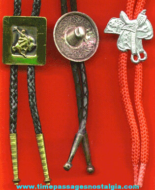 (3) Different Western Bolo Ties With Slides