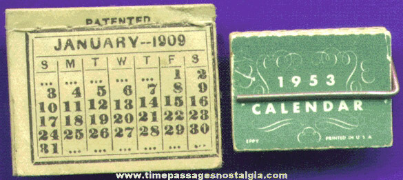 (2) Different Old Miniature Calendars