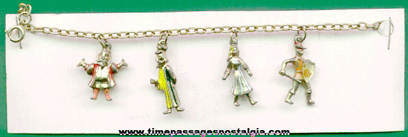 Old Charm Bracelet With (4) Metal People Charms