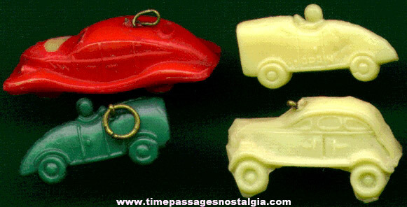 (4) Different RARE 1920's - 1930's Celluloid Automobile Charms