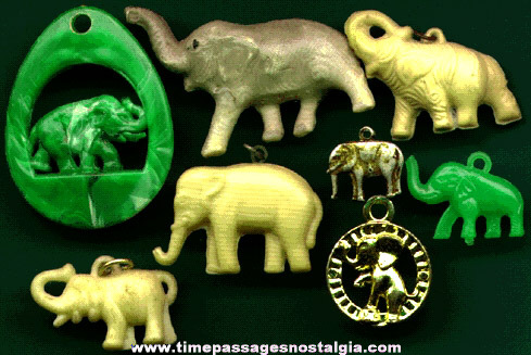 (8) 1930's to 1960's Elephant Charms