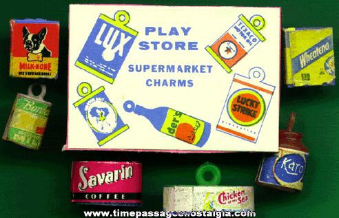 (6) 1950's - 1960's Food Advertising Gumball Machine Charms Plus A Bonus!