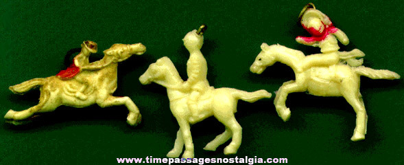(3) Different Scarce 1930's Celluloid Horse With Rider Charms