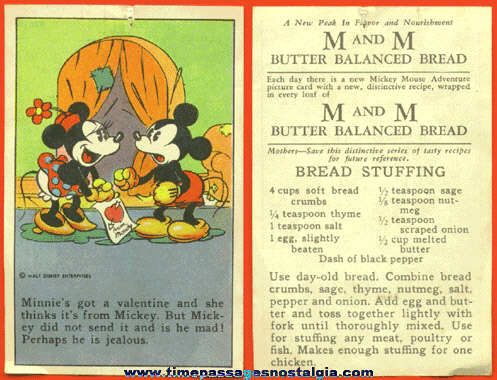 RARE Early Walt Disney Enterprises Mickey & Minnie Mouse Bread Premium Recipe Card