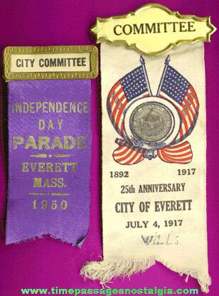 (2) Old City Of Everett, Massachusetts Ribbons