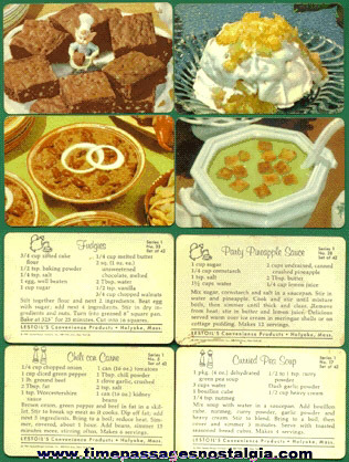 (4) 1961 LESTOIL Recipe Trading Cards