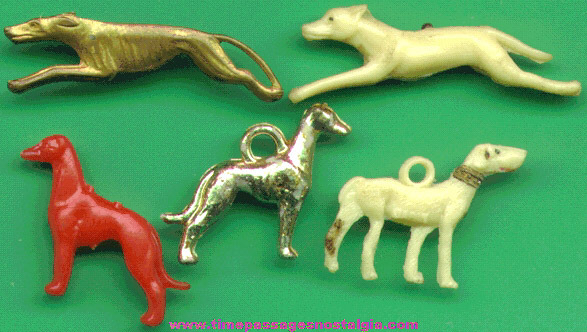 (5) 1930's - 1960's Greyhound Dog Charms