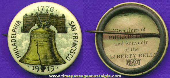 Colorful 1915 LIBERTY BELL Souvenir Celluloid Pin Back Button