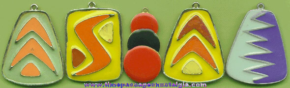 (5) 1950's (?) Heavily Enameled Retro Necklace Pendants