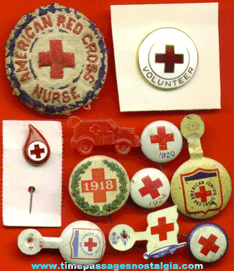 (11) Different Old Red Cross Pins & Buttons