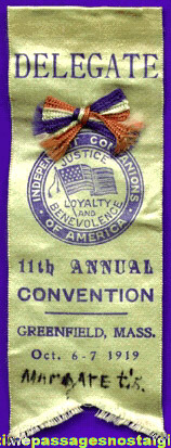 1919 Independent Companions Of America Convention Delegate Ribbon