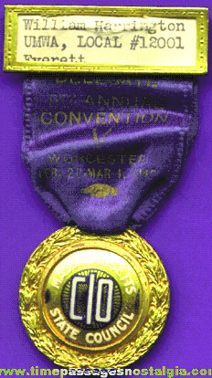 1942 Massachusetts State Council Convention Delegate Medal / Ribbon