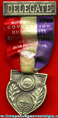 1934 Massachusetts State Federation Of Labor Convention Delegate Ribbon Medal
