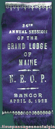 1922 N.E.O.P. Grand Lodge Of Maine Ribbon
