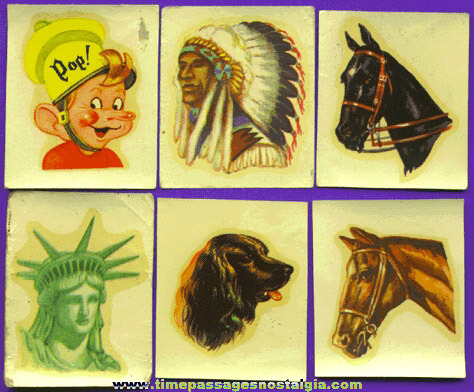 (6) 1940's - 1950's Kellogg's PEP Cereal Decal Prizes / Premiums