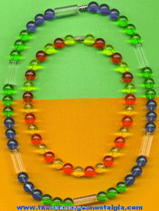 (2) Colorful Old Lucite Beaded Necklaces