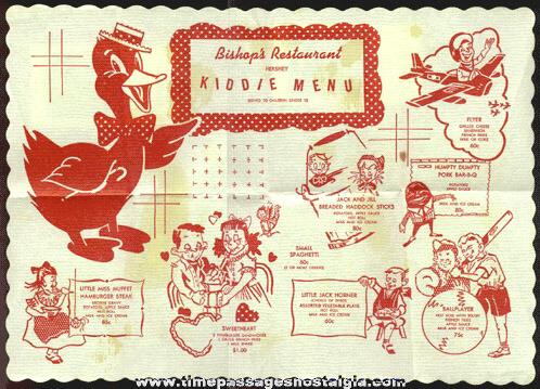 Old Bishop's Restaurant Kiddie Menu Placemat With Nursery Rhyme Characters & More