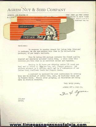 Old Agress Nut & Seed Company Letter & Unused Sample Nut Box